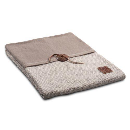 Knit-Factory-111112-Strickdecke-Plaid-Reiskorn-130-x-160-cm-beige-0