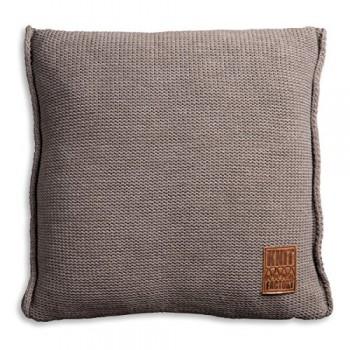 Knit-Factory-1131229-Dekokissen-Strickkissen-Uni-mit-Fllung-50-x-50-cm-taupe-0
