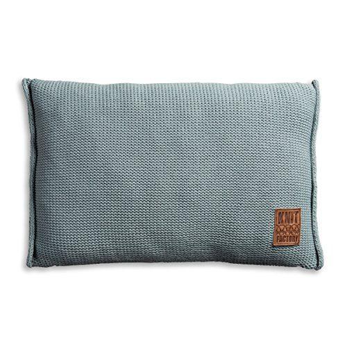 Knit-Factory-1131309-Dekokissen-Strickkissen-Uni-mit-Fllung-60-x-40-cm-stone-grn-0