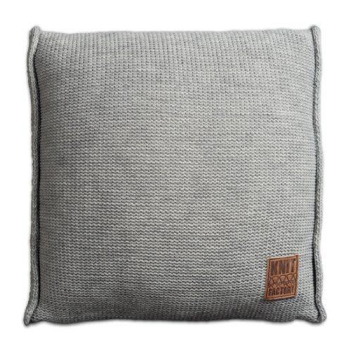 Knit-Factory-131211-Dekokissen-Strickkissen-Uni-mit-Fllung-50-x-50-cm-grau-0