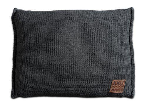 Knit-Factory-131310-Dekokissen-Strickkissen-Uni-mit-Fllung-60-x-40-cm-anthrazit-0