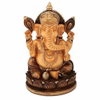 Largel-Ganesh-Statue-Holz-Gold-poliert-Vereinbarkeit-Gott-Ganesha-Elefant-handgefertigt-handbemalt-Idol-India-Geschenk-0