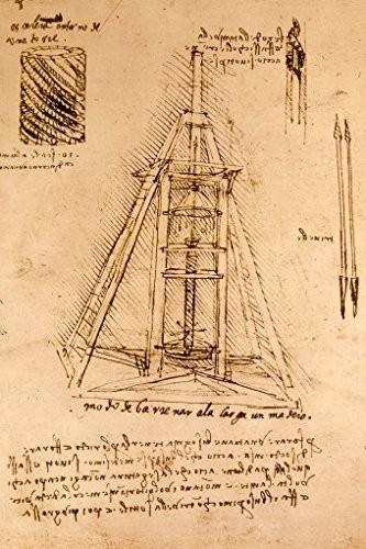 Leonardo-Da-Vinci-Zeichnung-Einer-Bohrmaschine-1487-1490-Poster-Leinwandbild-Auf-Keilrahmen-120-x-80cm-0