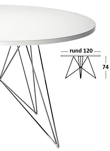 magis tavolo xz3 tisch rund wei gestell chrom 120 cm online kaufen bei woonio. Black Bedroom Furniture Sets. Home Design Ideas