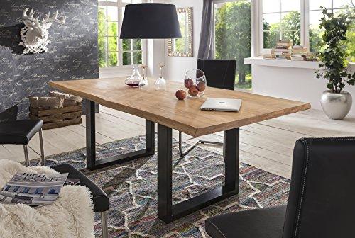 esstisch wildeiche massivholztisch tisch baumkante eiche esszimmer neu 200x100 natur ge lt. Black Bedroom Furniture Sets. Home Design Ideas