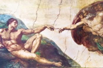 Michelangelo-Buonarroti-Die-Erschaffung-Adams-1508-1512-Poster-Leinwandbild-Auf-Keilrahmen-120-x-80cm-0