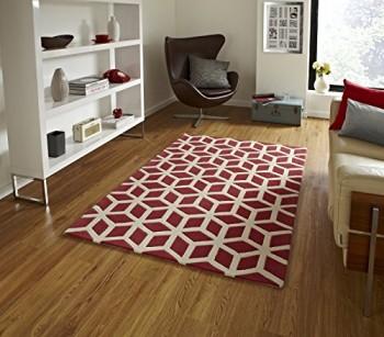 Modernes-geometrisches-Teppich-Wohnzimmer-Schlafzimmer-Boden-Teppich-150-x-230-cm-Rot-0