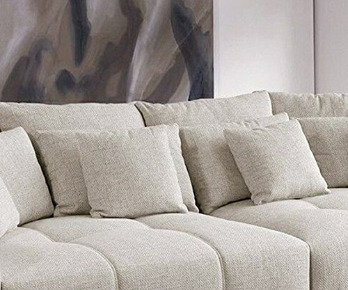 bigsofa valeska grau weiss couch 310x135 cm mit 12 kissen big sofa online kaufen bei woonio. Black Bedroom Furniture Sets. Home Design Ideas