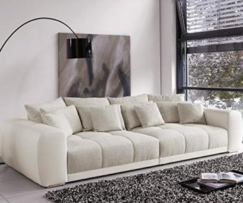 Polsterecke-Valeska-Grau-Weiss-Couch-310x135-cm-mit-12-Kissen-Big-Sofa-0