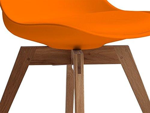 Retro stuhl orange eiche sitz einzelstuhl design pu leder for Design stuhl orange
