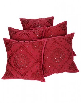 Rajrang-CCS07068-Floral-Embroiderot-weinrot-Baumwolle-Kissenbezug-rot-0