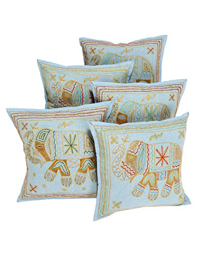 handmade designs blue throw pillows cotton for gifts 40x40 cushion covers for sofa set of 5. Black Bedroom Furniture Sets. Home Design Ideas