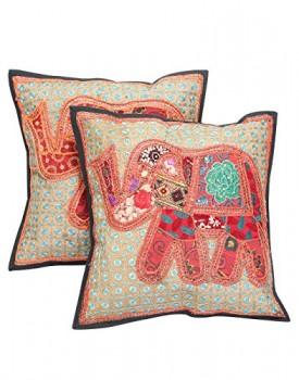 Rajrang-CCS08386-Elephant-Patch-Work-Baumwolle-Kissenbezug-braun-0