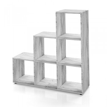 Regal-Treppenregal-Raumteiler-Stufenregal-Bcherregal-Aktenregal-Standregal-Beton-6-Fcher-0