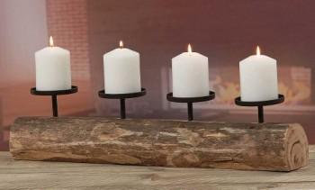 Rustikaler-Kerzenleuchter-Tempe-mit-4-Kerzenteller-Holz-L-51cm-Kerzenstnder-0