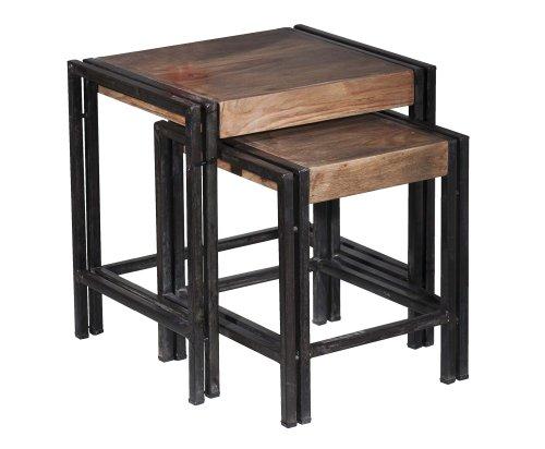 sit m bel 9292 01 2 satz tisch panama shesham natur mit schwerem altmetall und gebrauchsspuren. Black Bedroom Furniture Sets. Home Design Ideas