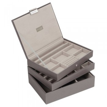 STACKERS-Set-of-3-CLASSIC-SIZE-Mink-STACKER-Set-of-3-Jewellery-Box-with-Grey-Velvet-Finish-Lining-0