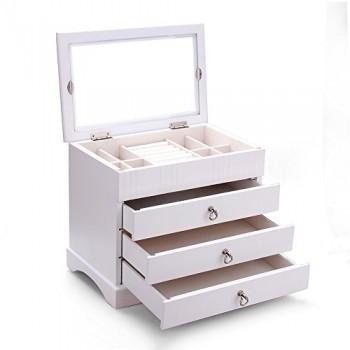 Schmuckkasten-aus-hart-Holz-schmuckkoffer-Kosmetikkoffer-Schmuckkstchen-Holzbox-Aufbewahrungsbox-fr-Schmuck-MG001-wei-0