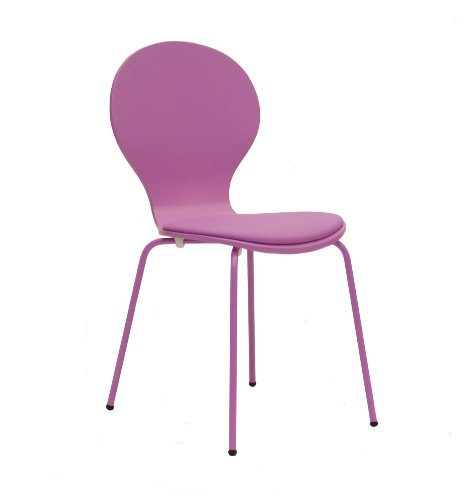Tenzo-610-032-FLOWER-4-er-Set-Designer-Sthle-Schichtholz-lackiert-matt-Sitzkissen-in-Lederoptik-Untergestell-Metall-lackiert-87-x-46-x-57-cm-rosa-0
