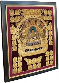 Thangka-Druck-Kunstdruck-Buddha-Reproduktion-Reproduktion-Leinwandbild-Rahmen-40x50-cm-0