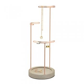Umbra-299471-633-Jewelry-Display-Tesora-Schmuckstnder-Schmuckhalter-Ringhalter-Ohrringhalter-Kettenstnder-Armbandhalter-mit-Ablage-verkupferter-Stahl-Gussbeton-grau-kupfer-0