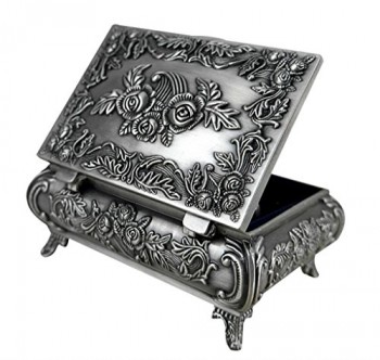 Unendlich-U-Luxus-Synthetik-Schmuckkoffer-Retro-Style-Antique-Rectangle-Form-und-Rose-Schmuckkstchen-fr-DamenReines-Zinn-SchmuckstckSilber-0