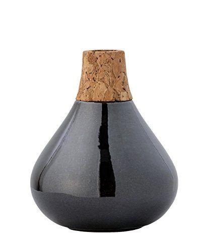 Vase-Black-Silver-Ceramic-wCorkneck-10xH12-cm-0