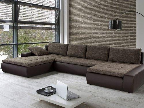 Wohnlandschaft cayenne 389x212 162cm braun sofa ecksofa for Wohnlandschaft schlafsofa
