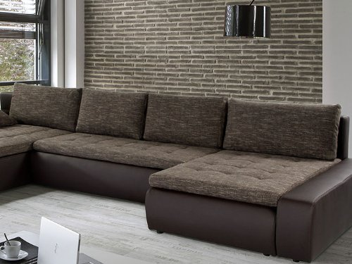 wohnlandschaft cayenne 389x212 162cm braun sofa ecksofa. Black Bedroom Furniture Sets. Home Design Ideas