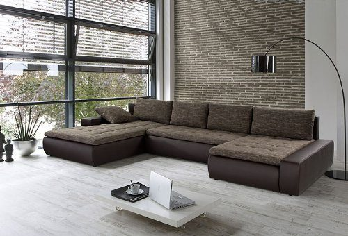 Wohnlandschaft cayenne 389x212 162cm braun sofa ecksofa - Braunes ecksofa ...