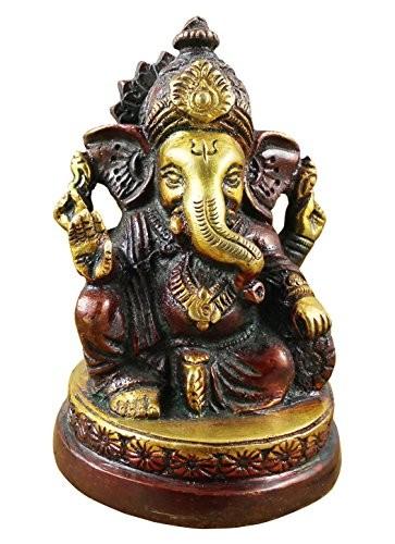 indischer-Gott-Ganesha-Figur-bemalt-braun-handgefertigte-Messing-StatueGeburtstagsgeschenk-9-x-6-cm-x-6-cm-0