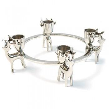 Adventskranz-Adventsleuchter-HIRSCH-modern-Design-Nickel-silber-0