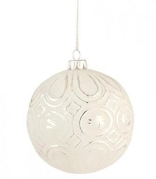 Clayre-Eef-6GL1391-Deko-Dekoration-Anhnger-Weihnachtskugel-wei-ca--10-cm-0