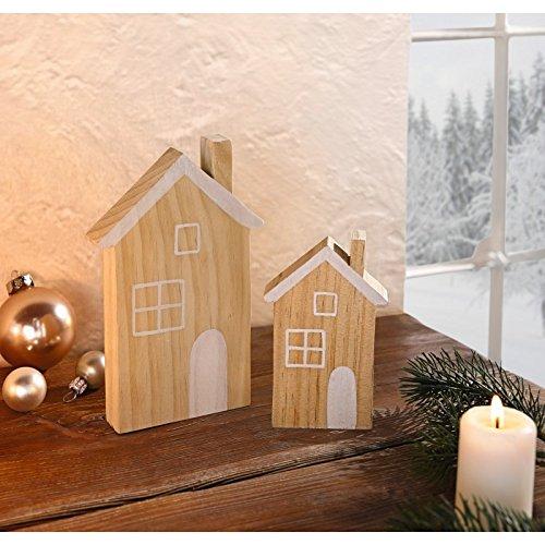 h uschen 2er set holz in naturton mit nat rlicher. Black Bedroom Furniture Sets. Home Design Ideas
