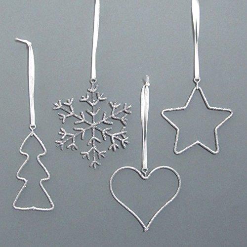 Stern Perlen Silber Eiskristall Metall Weiß Weihnachten: METALL HÄNGER SET 12 TEILE. Ca 7-9 Cm. Herz, Stern, Baum