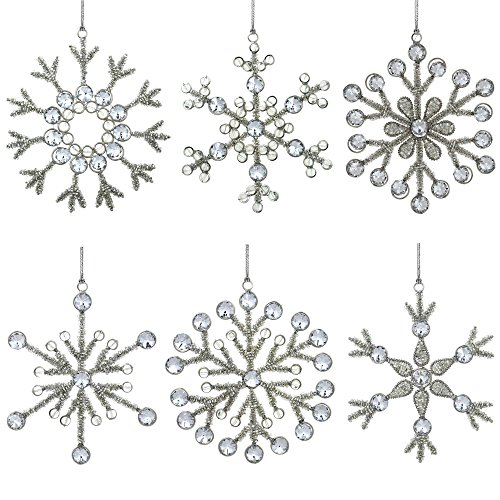 set of 6 handmade snowflake iron and glass pendant christmas ornaments 6 inches online kaufen. Black Bedroom Furniture Sets. Home Design Ideas