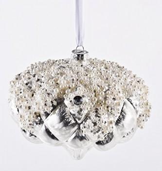 Weihnachtskugel-Luxury-Brokat-Premium-Glas-15cm-silber-Xmas-Weihnachten-0