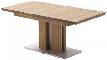 Ausziehbarer-Sulentisch-Bari-Tischplatte-und-Gestell-massiv-matt-lackiert-Absetzung-Gestell-und-Bodenplatte-Edelstahloptik-0