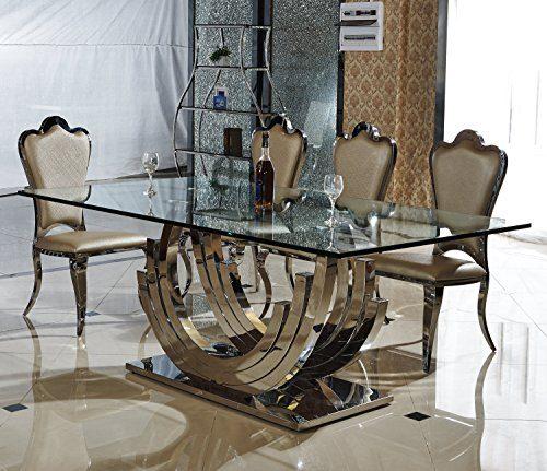 Designer esstisch edelstahl esszimmer tisch glastisch glas hochglanz 200cmx100cmx75cm online - Exklusive esstische ...