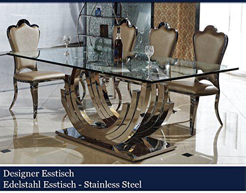 Designer-Esstisch-Edelstahl-Esszimmer-Tisch-Glastisch-Glas-Hochglanz-200cmx100cmx75cm-0