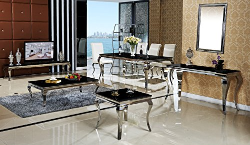 esstisch 180 x 90 x 76 lara schwarz esszimmer designer luxus tisch b ro edelstahl glas barock. Black Bedroom Furniture Sets. Home Design Ideas