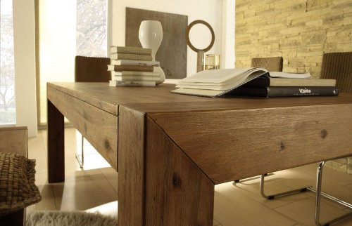Esstisch auszug akazie wohnzimmertisch tisch massivholz for Wohnzimmertisch esstisch