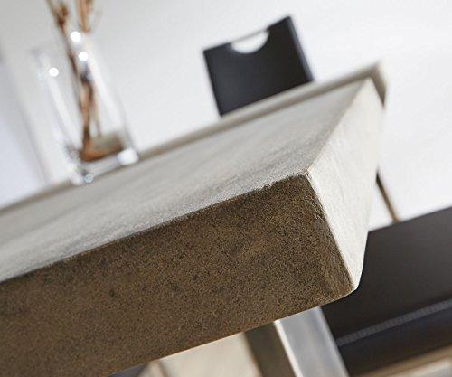 esszimmertisch zement grau 140x90 cm gestell schmal. Black Bedroom Furniture Sets. Home Design Ideas