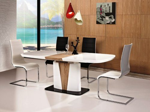hochglanz wei esstisch cangas 90x160x75 ausziehbar auf 200cm s ulentisch sonoma eiche holz. Black Bedroom Furniture Sets. Home Design Ideas