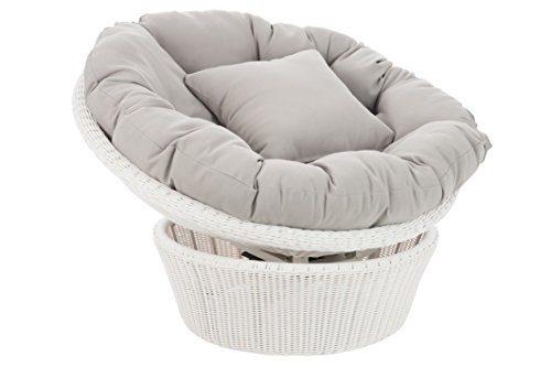 j line loungesessel wei grau papasansessel drehsessel weide optik kunststoff 98x98x64cm online. Black Bedroom Furniture Sets. Home Design Ideas