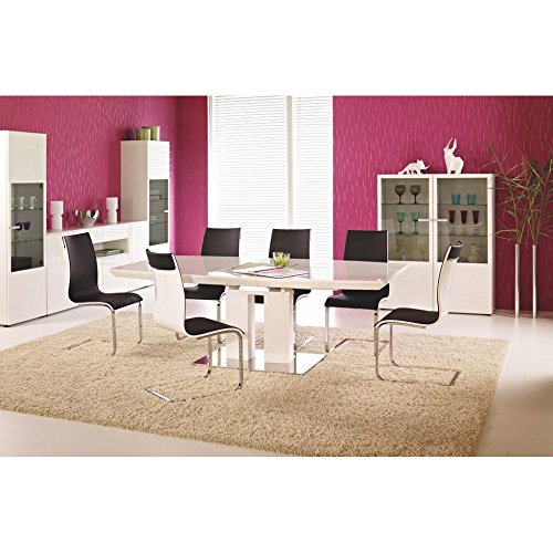 justhome lorenzo ausziehtisch k chentisch esstisch wei hochglanz lxbxh 180 220x110x75 cm. Black Bedroom Furniture Sets. Home Design Ideas