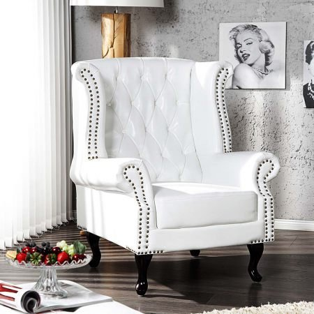 ohrensessel chesterfield weiss 104x86x72cm online kaufen. Black Bedroom Furniture Sets. Home Design Ideas