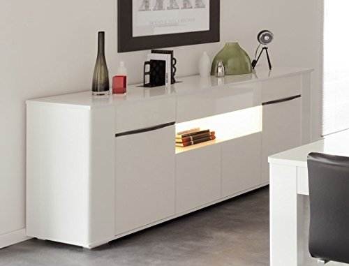 sideboard ceren 3 wei hochglanz melamin 201x84x52 cm schrank wohnzimmer esszimmer online kaufen. Black Bedroom Furniture Sets. Home Design Ideas