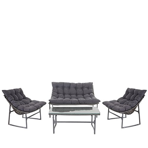 2 1 1 poly rattan garten garnitur tunis sitzgruppe lounge set alu anthrazit kissen anthrazit. Black Bedroom Furniture Sets. Home Design Ideas