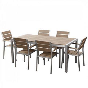 Aluminium-Gartenmbel-Set-braun-Tisch-180cm-6-Sthle-Polywood-VERNIO-0